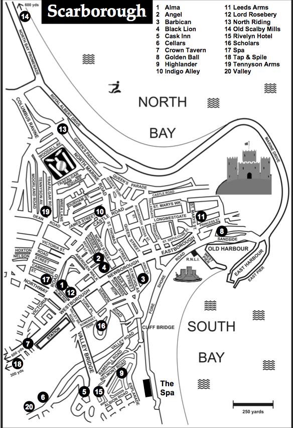 map of scarborough pubs
